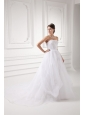 A-line Strapless Appliques Pick-ups Organza Chapel Train Wedding Dress