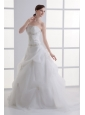 A-line Strapless Appliques Pick-ups Ruching Court Train Organza Wedding Dress