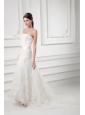 A-line Strapless Beading and Lace Court Train Wedding Dress