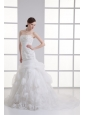 A-line Strapless Hand Made Flowers Pick-ups Appliques Wedding Dress