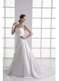 A-line Strapless Ruching Chapel Train Satin Wedding Dress