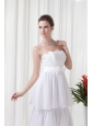 A-line Strapless Ruffled Layers Belt Brush Train Wedding Dress