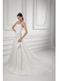 A-line Straps Appliques Ruching Satin Chapel Train Wedding Dress