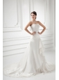 A-line Sweetheart Appliques Ruching Court Train Wedding Dress