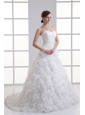 A-line Sweetheart Ruffled Layers Beading Organza Court Train Wedding Dress