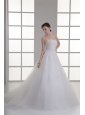 A-line Sweetheart Sweep Train Wedding Dress with Sequins