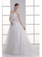 A-line V-neck Cap Sleeves Beading Tulle Court Train Wedding Dress