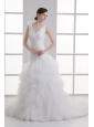 A-line V-neck Hand Made Flower Ruching Ruffles Court Train Wedding Dress