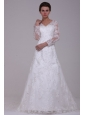 A-Line V-Neck Lace Up Lace Appliques Court Train Wedding Dress with 3/4 Sleeveles