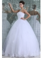 Ball Gown Strapless Floor-length Wedding Dress with Appliques