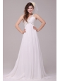 Beaded Decorate V-neck Empire Chiffon Court Train Wedding Dress