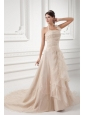 Champagne A-line Halter Top Wedding Dress with Embroidery and Layers