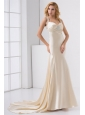 Champagne Column Straps Watteau Train Wedding Dress with Beading