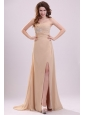 Champagne One Shoulder Appliques and High Silt Wedding Dress