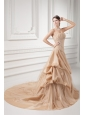 Champagne Strapless Court Train Wedding Dress with Embroidery and Pick-ups