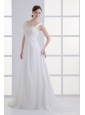 Clasp Handle Court Train Empire Straps Wedding Dress with Lace