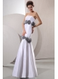 Column Strapless Floor-length Wedding Dress with Gray Hand Made Flowers
