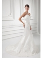Column Sweetheart Appliques Court Train Satin  Wedding Dress