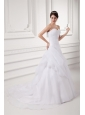 Court Train Elegant A-line Sweetheart Wedding Dress with Pick-ups