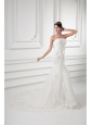 Court Train Mermaid Strapless Lace Wedding Dress with Sash