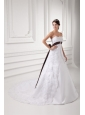 Discount A-line Strapless Court Train Wedding Dress with Sash
