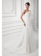 Elegant A-line One Shoulder Wedding Dress with Court Train