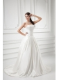 Elegant A-line Strapless Sweep Train Wedding Dress with Satin