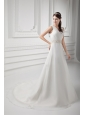 Elegant A-line V-neck Court Train Wedding Dress with Beading and Ruching
