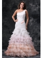 Elegant One Shoulder A-Line Ruffles Brush Train Organza Wedding Dress