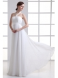Empire Halter Top Ruching Chiffon Floor-length Wedding Dress