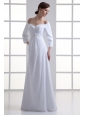 Empire Off The Shoulder Long Sleeves Floor-length Beading Wedding Dress