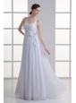 Empire Straps Ruching Sash Chiffon Floor-length Wedding Dress
