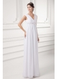 Empire V-neck Appliques Chiffon Ruching Wedding Dress