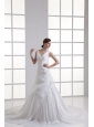 Gorgeous V-neck A-line Cathedral Train Wedding Dress with Appliques and Beading
