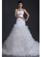 Luxurious A-line Sweetheart Beading and Ruffles Wedding Dress
