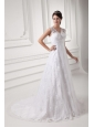 Luxurious A-line V-neck Wedding Dress with Lace Court Train
