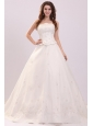 Luxurious Strapless A-line Embroidery Chapel Train Wedding Dress