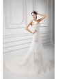 Mermaid One Shoulder Flowers Wedding Dress with Court Train
