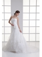 Mermaid Strapless Ruching Ruffles Organza Chapel Train Wedding Dress
