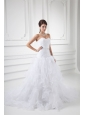 Romantic A-line Sweetheart Court Train Wedding Dress with Beading and Ruffles