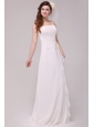 Spaghetti Strap Empire Chiffon Ruche Wedding Dress with Appliques
