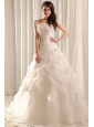 Strapless A-line Hand Made Flowers Sweep Train Wedding Dress