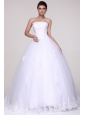 Strapless Ball Gown Lace Appliques Floor-length Wedding Dress
