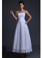 Strapless Empire Ankle-length Lace Wedding Dress with Bowknot