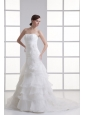 Strapless Hand Made Flowers Ruffled Layers Ruching Court Train Wedding Dress