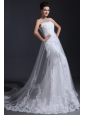 Strapless Mermaid Lace Appliques Wedding Dress with Chapel Train
