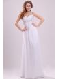 Straps Empire Chiffon Beaded Decorate Floor-length Wedding Dress
