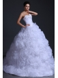 Sweetheart Ball Gown Beading and Rolling Flowers Wedding Dress
