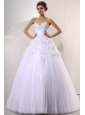 Sweetheart Ball Gown Hand Made Flowers and Pleats Wedding Dress