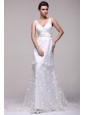 V-neck A-line Lace Court Train Wedding Dress with Beading on Sash